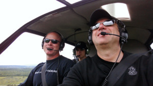 Flying in a R44 Helicopter with my son Jack and friend (pilot) Jake.