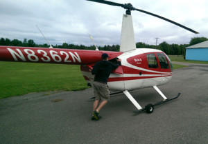Jack pushing the helo back to the hanger